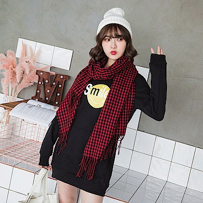 台灣製造.微笑字母圖樣燙印內刷毛長版衛衣上衣-OB大尺碼