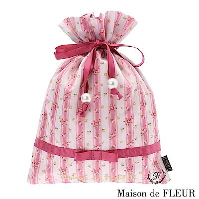 Maison de FLEUR 玫瑰花朵蕾絲束口包