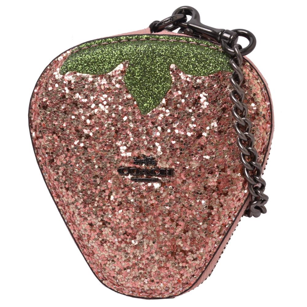 COACH 金屬馬車鍊條鑰匙亮片零錢包-草莓甜心限定款COACH