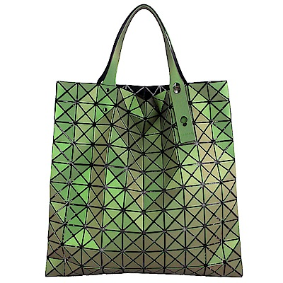 ISSEY MIYAKE 三宅一生BAOBAO 魔幻三角方格10x10透光手提包(綠/中)