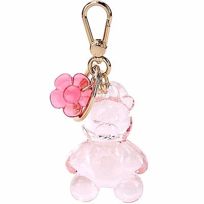 FURLA Candy 花朵泰迪熊樹脂鑰匙圈(透明粉)