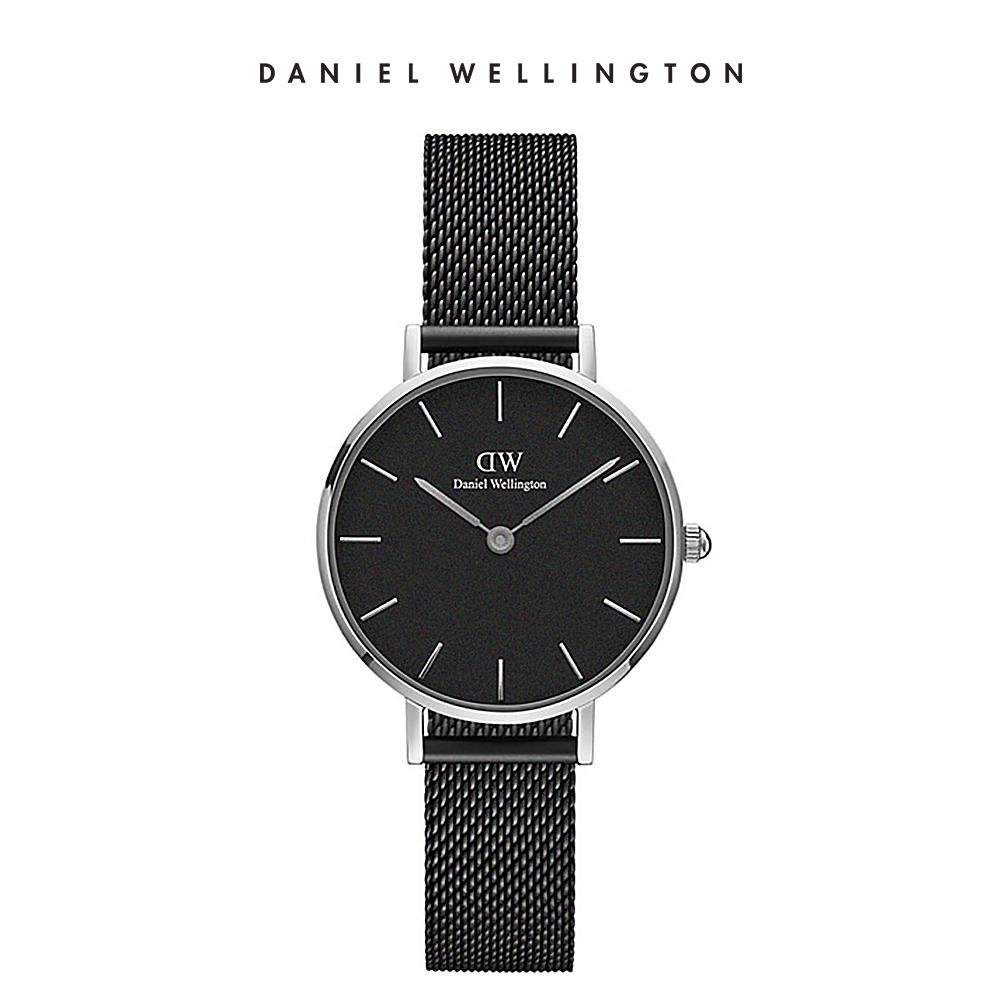 DW 手錶 官方旗艦店 28mm銀框 Petite 寂靜黑米蘭金屬錶