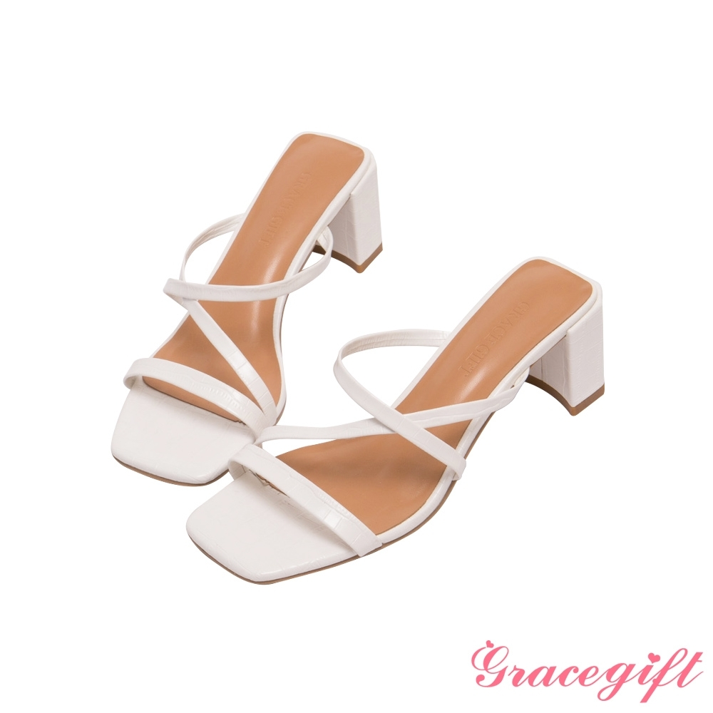 Grace gift-Z字細帶高跟涼拖鞋 白壓紋