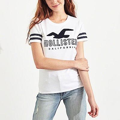海鷗 Hollister 經典刺繡大海鷗文字短袖T恤(女)-白色