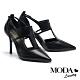 高跟鞋 MODA Luxury 極致自信簍空線型輪廓羊皮尖頭高跟鞋-黑 product thumbnail 1