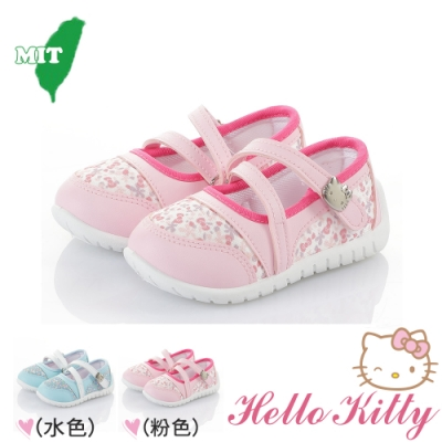 Hello Kitty 兒童鞋 透氣抗菌防臭休閒鞋幼稚園室內鞋娃娃鞋-水&粉色