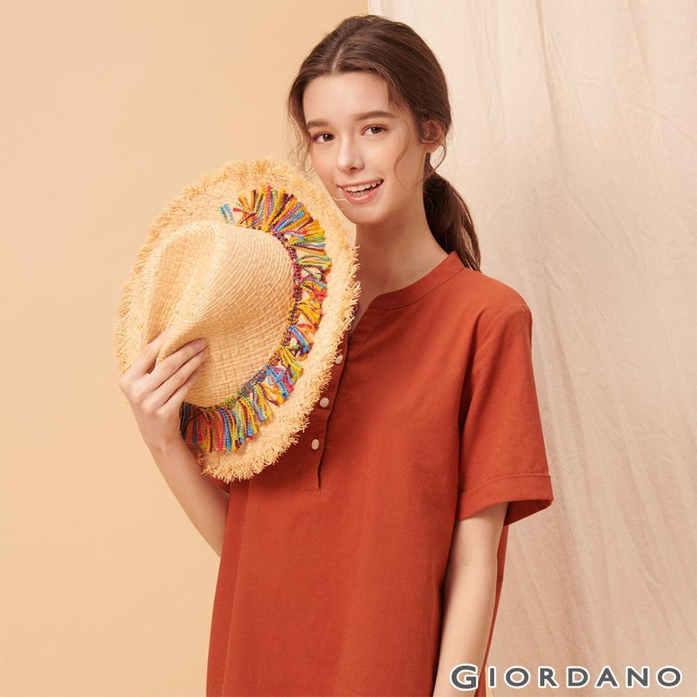 GIORDANO 女裝自然棉麻系列亨利領短袖連身裙-25 夕陽紅
