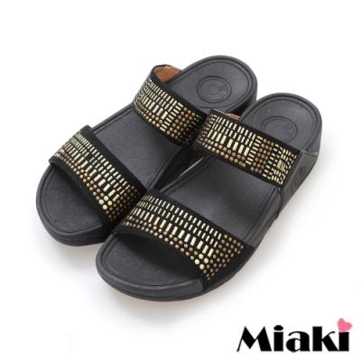 Miaki-拖鞋金屬時尚休閒坡跟涼拖-黑