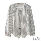 V領落肩條紋上衣 TATA-(L/XL)