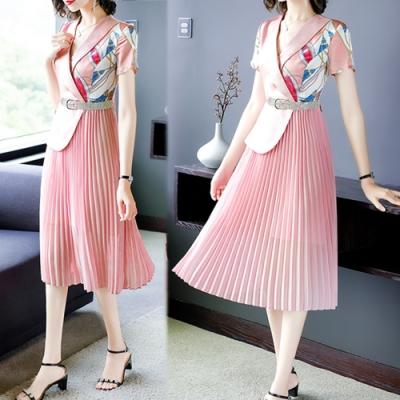 【韓國K.W】(現貨)好評加碼純淨花盛翻領假兩件印花洋裝(共1色)