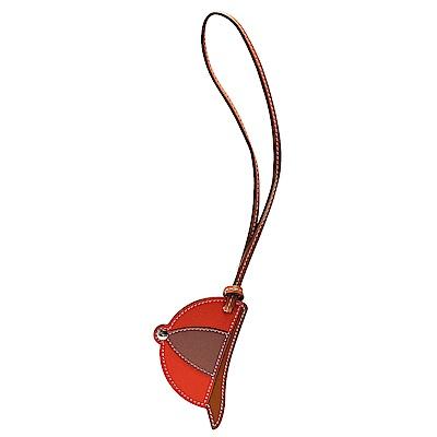 HERMES PADDOCK BOMBE棒球帽拼色小牛皮鑰匙圈/吊飾(焦糖棕X赭X珊瑚色)