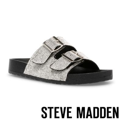 STEVE MADDEN-THRILLED 百搭銀鑽雙帶休閒拖鞋-銀黑