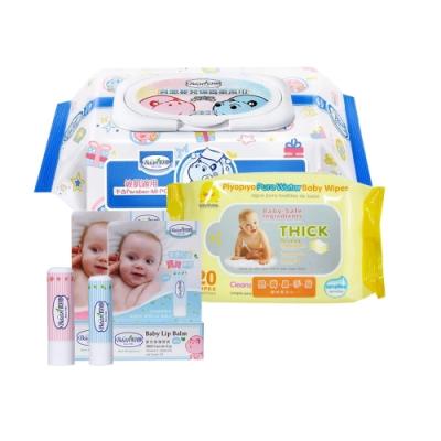 限定貝恩Baan嬰兒保養柔濕巾80抽24入+黃色小鴨柔濕巾/20抽*1 贈貝恩嬰兒修護唇膏5g*1(隨機)