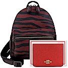 COACH 深紅色虎紋圖樣PVC後背包+紅色光澤防刮皮革證件名片短夾