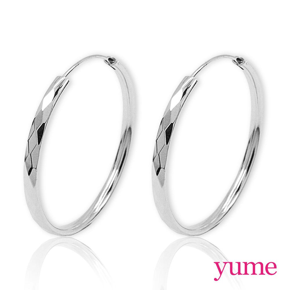 YUME - 菱格紋大圈圈耳環(60mm)