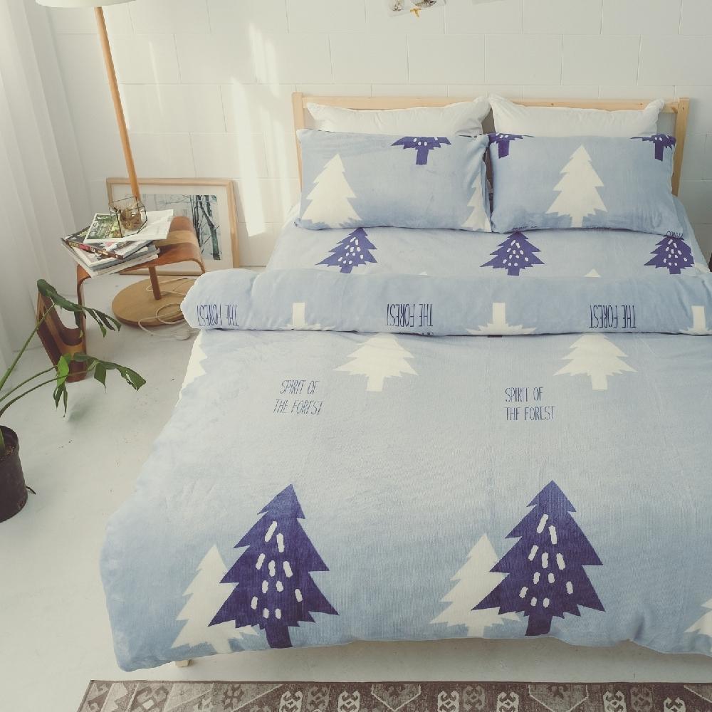 BUHO 極柔暖法蘭絨雙人特大床包三件組(北境森藍)