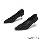 達芙妮DAPHNE  跟鞋-波浪剪裁金屬拚接尖頭跟鞋-黑