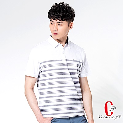 Christian 魅力展現條紋男POLO_白(PS803-80)