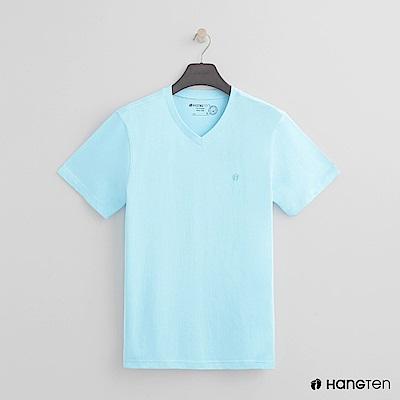 Hang Ten - 男裝 - 有機棉小V領純色T恤 - 天藍
