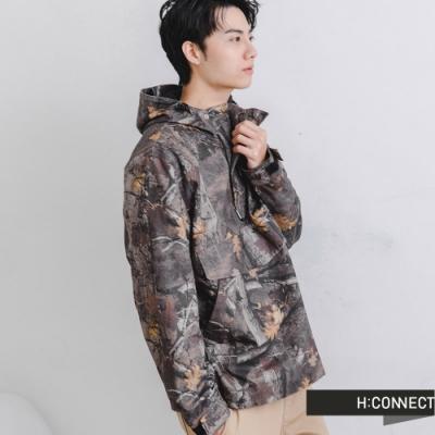 H:CONNECT 韓國品牌 男裝-質感滿版落葉防風外套-橄欖色