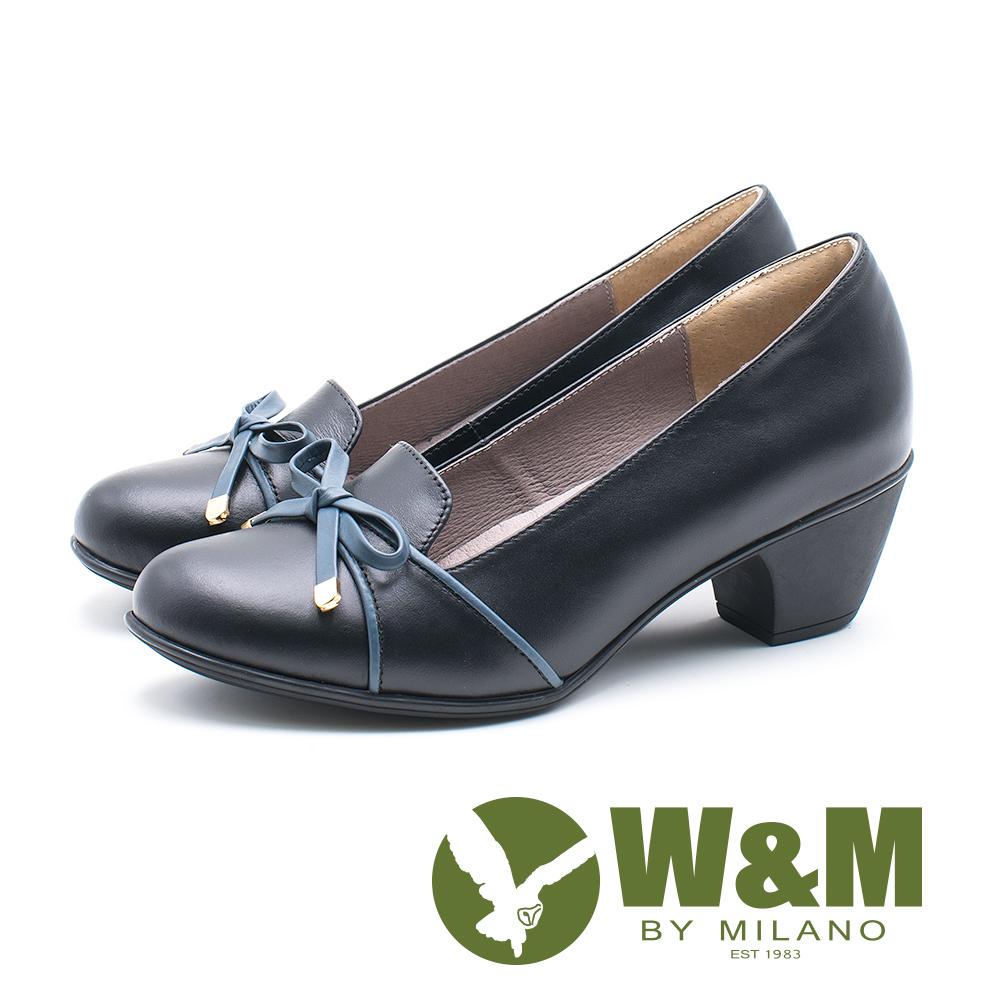 W&M 圓頭蝴蝶結粗跟跟鞋 女鞋 - 黑 (另有藕)