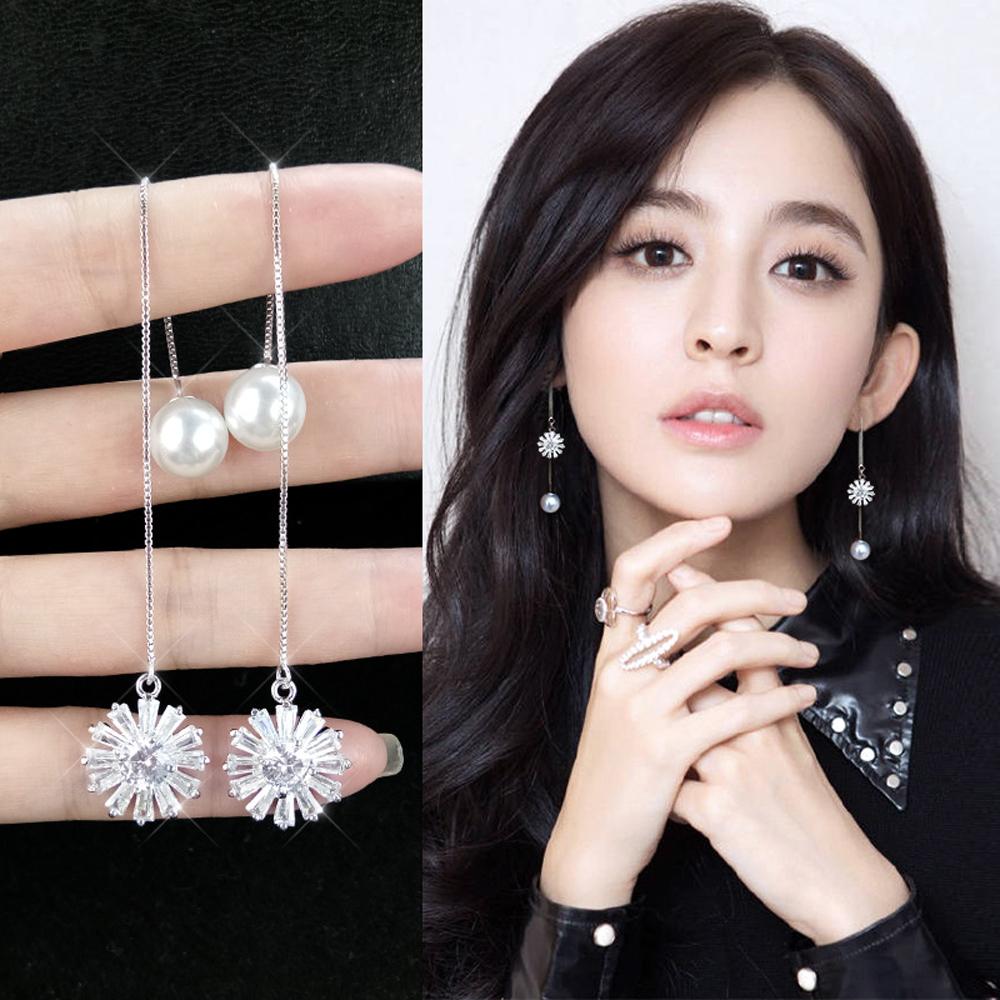 梨花HaNA 韓國925銀針太陽的女子珍珠耳線耳環