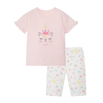 【麗嬰房】Cloudy雲柔系列 女童皇后貓咪短袖套裝(短袖+短褲組) (76cm~130cm)
