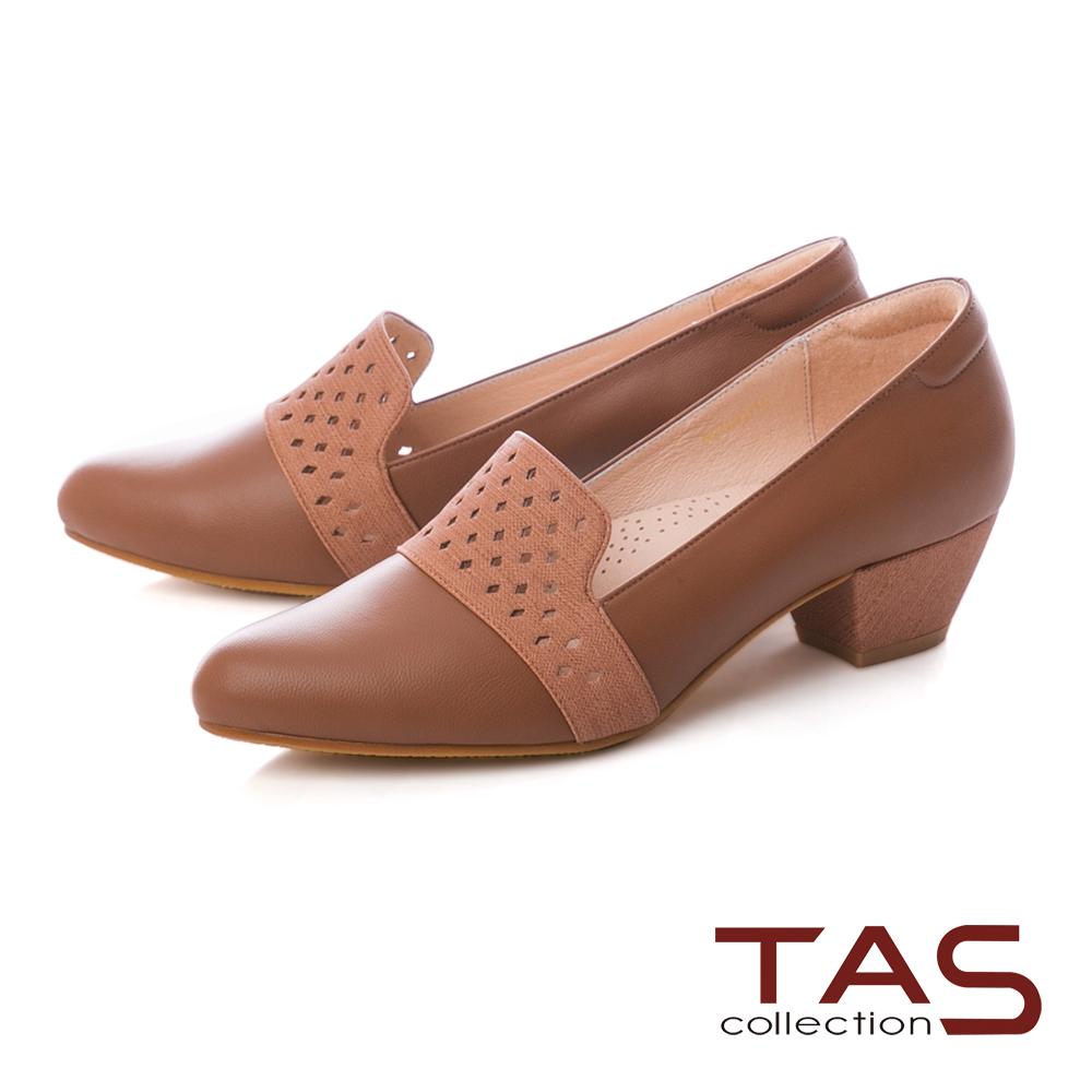 TAS 幾何沖孔素面拼接樂福粗跟鞋-焦糖棕