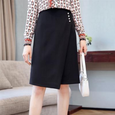 設計所在Lady-不對稱拼接A字裙時尚高腰一步裙(二色M-2XL可選)