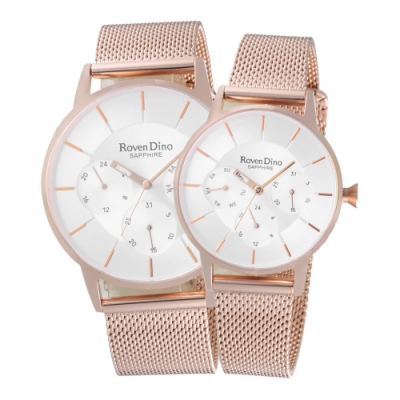 Roven Dino羅梵迪諾  獨特時尚三眼對錶-玫瑰金X白