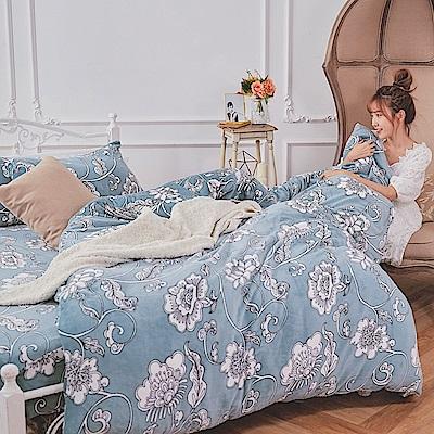 戀家小舖 / 法蘭絨  雙人加大床包兩用毯組  芬妮雅  保暖抗寒