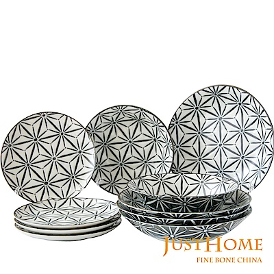 Just Home日本製夜語陶瓷10件餐具組(3種器形)