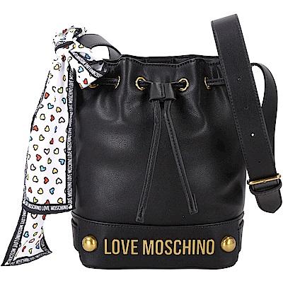 LOVE MOSCHINO 愛心印花絲巾水桶包(黑色)