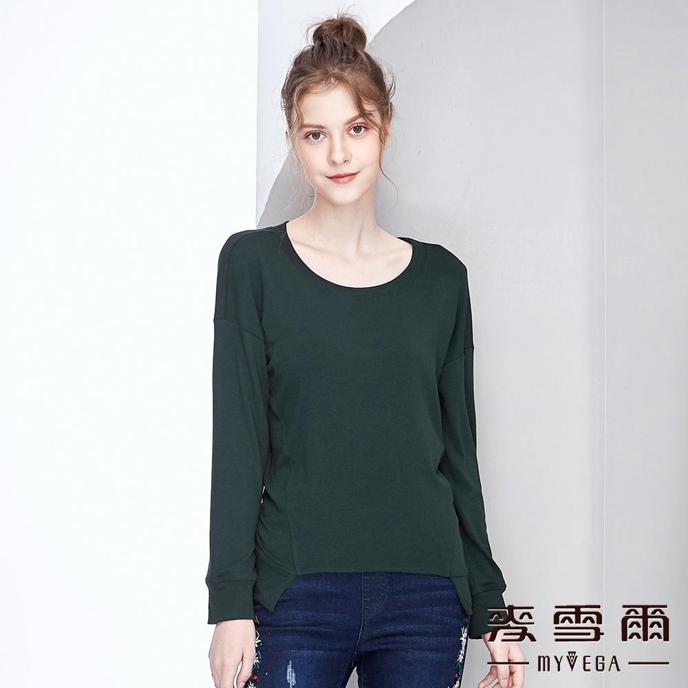 【麥雪爾】棉質不規則下擺落肩素色上衣-綠