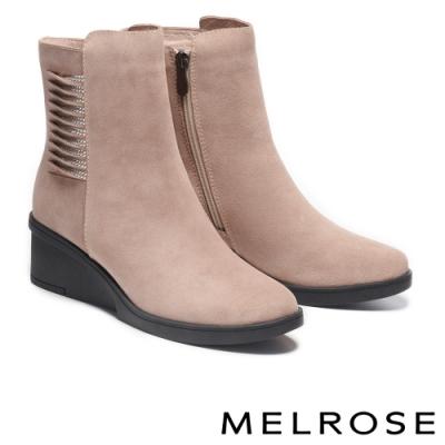 短靴 MELROSE 質感時尚晶鑽牛皮楔型高跟短靴-米