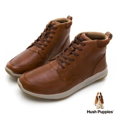 Hush Puppies Bounce Max 高效彈力高筒皮革休閒鞋-深棕