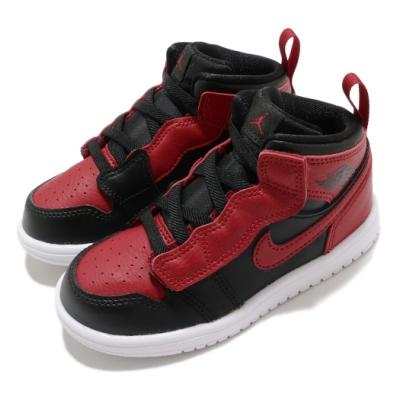 Nike 休閒鞋 Jordan 1 Mid ALT 童鞋 喬丹 魔鬼氈 舒適 皮革 輕便 小童 黑 紅 AR6352074