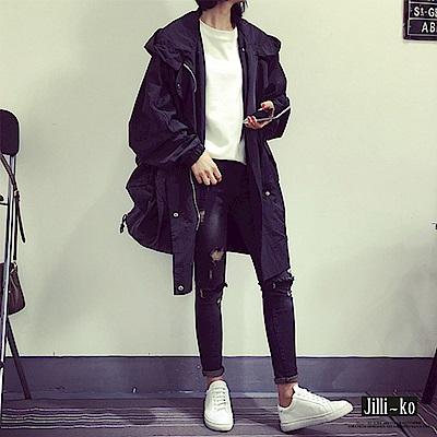 Jilli-ko 韓版中長連帽風衣外套-黑