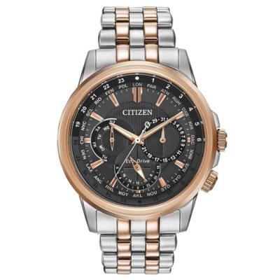 CITIZEN Eco-Drive 王者榮耀三眼光動能腕錶-灰x金銀-BU2026-65H-42mm