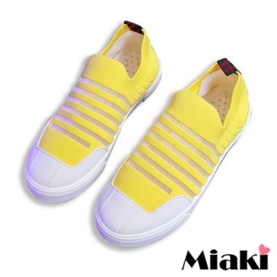Miaki-休閒鞋時尚飛織平底懶人鞋-黃