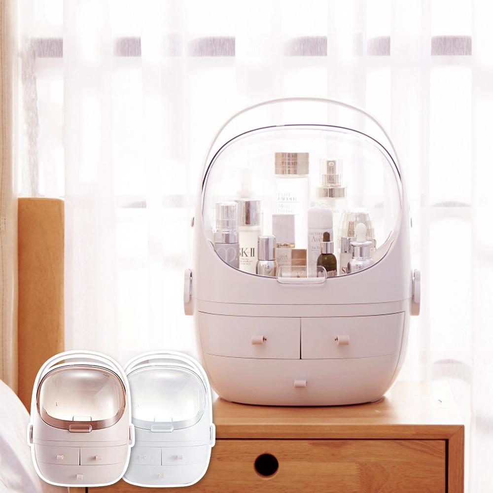 半島良品 網紅同款分離式防塵防水化妝品收納盒-雙開款
