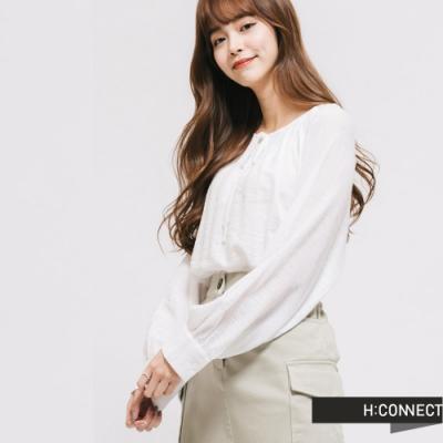 H:CONNECT 韓國品牌 女裝 - 輕甜綁結造型上衣-白