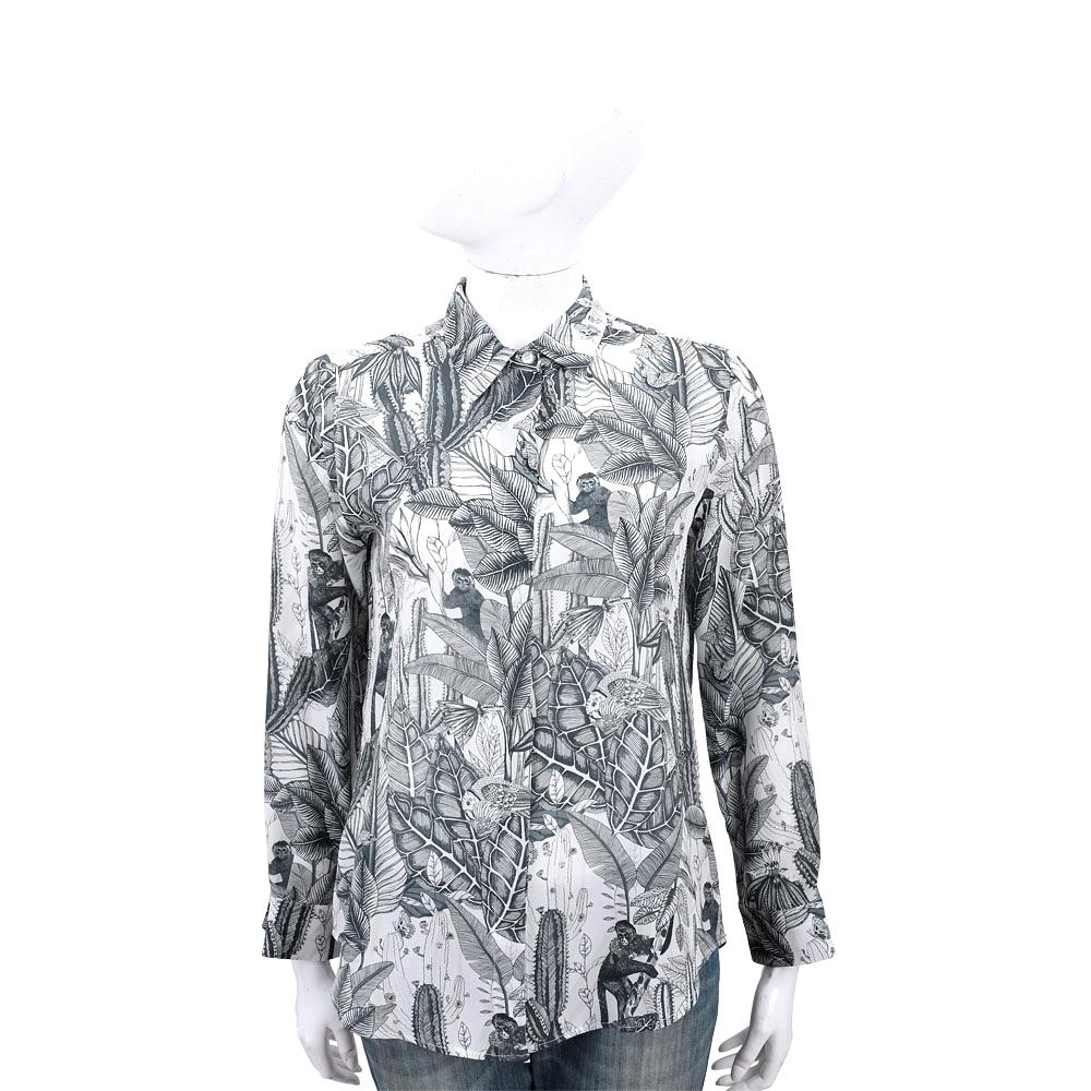 Max Mara-WEEKEND 葉片印花白色長袖絲質襯衫