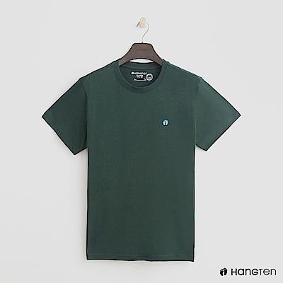 Hang Ten - 男裝 - 有機棉-圓領純色T恤 - 綠