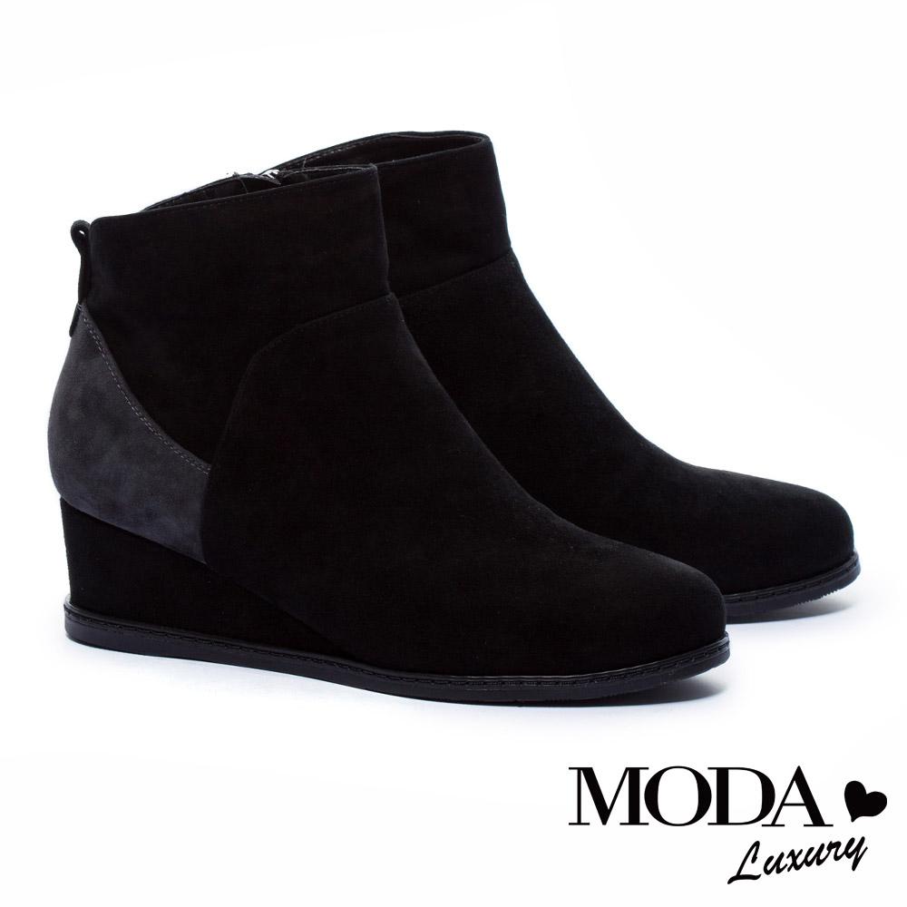 短靴 MODA Luxury 舒適滿分拼接感設計麂皮楔型短靴-黑