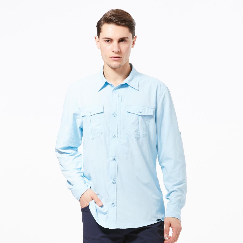 【HAKERS 哈克士】男 抗UV快乾長袖襯衫-天藍