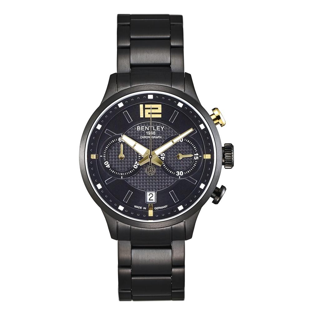 BENTLEY賓利 紳士風範雙眼計時手錶-黑金/42mm
