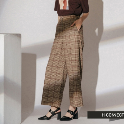 H:CONNECT 韓國品牌 女裝-復古格紋後鬆緊寬褲-卡其