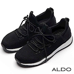 ALDO 原色針織彈性網眼布綁帶式厚底休閒鞋~尊爵黑色