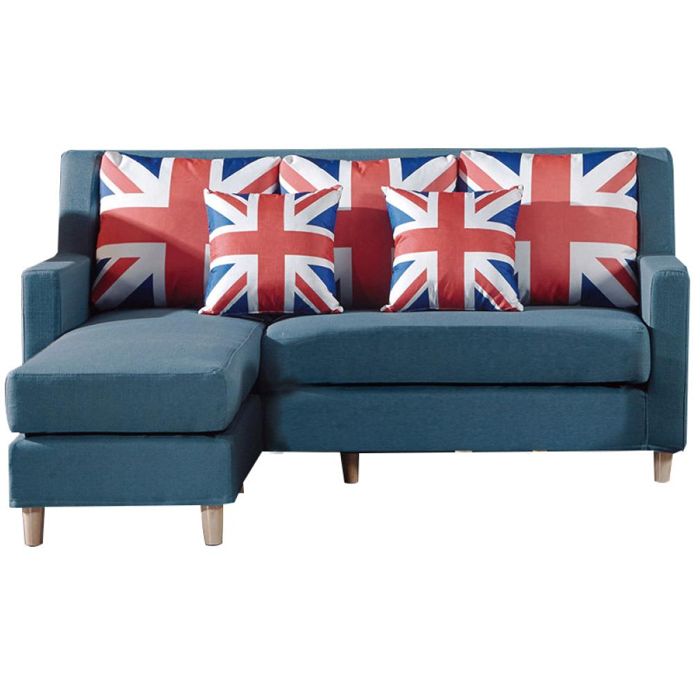 品家居 米瑟現代藍亞麻布獨立筒L型沙發組合-182x160x90cm免組
